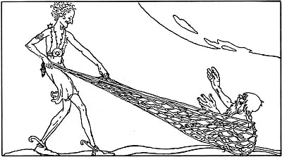 "Loki holding a fish-net with Andvari, in dwarf shape, caught in it: Willy Pogany's illustration for Padraic Colum's 1917 book ""The Children of Odin""--Viking Dragon Blogs"