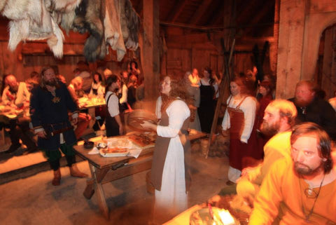 An evening in the longhouse at Lofotr Viking Festival