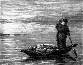 "Ferryman and corpse in a small boat on the water. ""Odin with Sinfjotli's corpse,"" 1897 illustration from Swedish v of the Poetic Edda, https://en.wikipedia.org/wiki/Sinfj%C3%B6tli#/media/File:Ed0030.jpg--Viking Dragon Blogs"