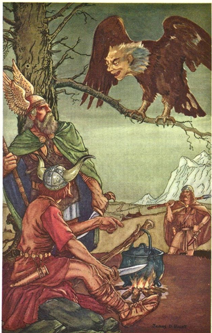 Thor, Loki & Hoenir talking to a Giant Eagle - Viking Dragon Blogs