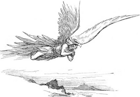 The Giant Thjazi Flying in Pursuit of Loki & Idun - Viking Dragon Blogs
