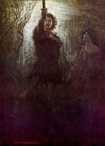Sigmund in rough clothing with upraised sword, Signy (?) behind him: Arthur Rackham illustration, https://en.wikipedia.org/wiki/Sigmund#/media/File:Ring21.jpg--Viking Dragon Blogs