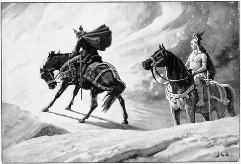 """Sigurd and Gunnar at the Fire"" by J.C. Dollman, retrieved from https://upload.wikimedia.org/wikipedia/commons/4/4f/Sigurd_and_Gunnar_at_the_Fire_by_J._C._Dollman.jpg--Viking Dragon Blogs"