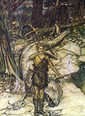 Sigurd drinks Fafnir's blood--Illustration by Arthur Rackham, 1911, via Wikimedia Commons, https://upload.wikimedia.org/wikipedia/commons/thumb/2/22/Ring45.jpg/220px-Ring45.jpg--Viking Dragon Blogs