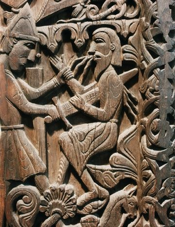 Sigurd kills Regin (12th-century carving photographed by UPenn,via Wikimedia, https://commons.wikimedia.org/wiki/File:Sigurd_Portal_(Sigurd_kills_Regin).png--Viking Dragon Blogs