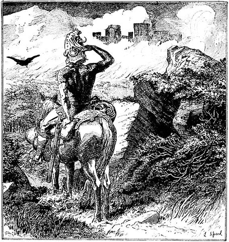Sigurd looking at a castle dimly glimpsed above walls of flame: 1890 illustration from the Red Fairy Book, via Wikimedia, https://commons.wikimedia.org/wiki/File:Page_363_Red_Fairy_Book.jpg--Viking Dragon Blogs