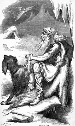 """Old giant with crown, axe, and hound; """"The King of the Frost-Giants"""" retrieved from https://upload.wikimedia.org/wikipedia/commons/3/3c/The_King_of_the_Frost-Giants.jpg--Viking Dragon Blogs"""