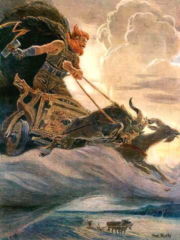Thor with his goat-chariot, painting by Max Friedrich Koch, retrieved from https://upload.wikimedia.org/wikipedia/commons/d/d8/A_painting_by_Max_Friedrich_Koch_-_Donar-Thor.jpg--Viking Dragon Blogs