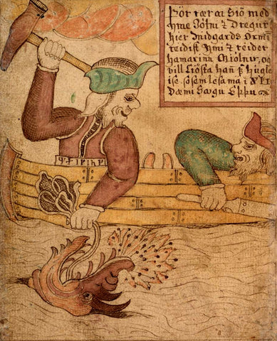 Thor pulling on the Serpent and raising his hammer; Hymir looking terrified. From the 18th century Icelandic manuscript SÁM 66 in the care of the Árni Magnússon Institute in Iceland, retrieved from https://commons.wikimedia.org/wiki/File:Thor_and_Hymir.jpg --Vking Dragon Blogs