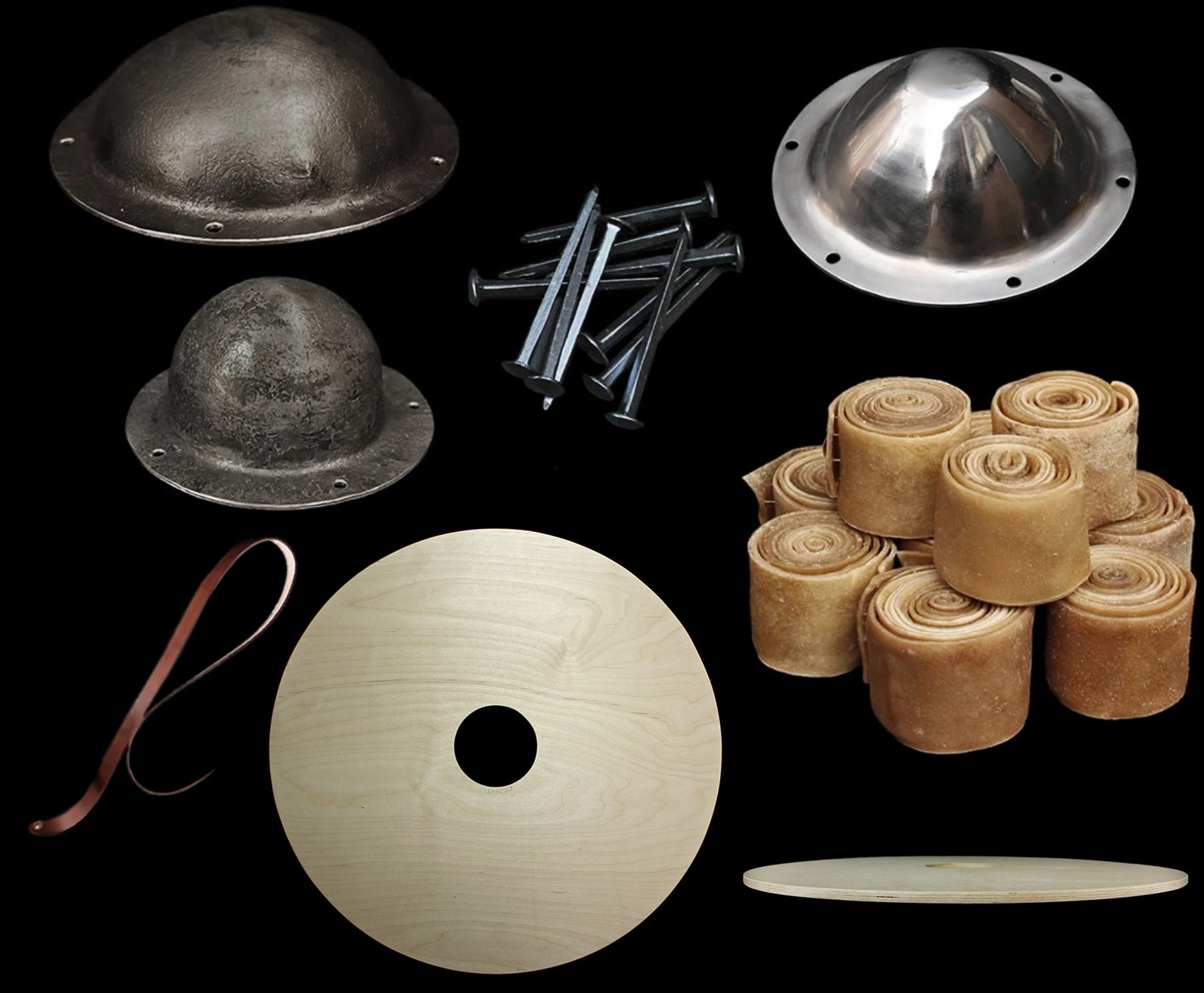 Viking Shield Accessories - Shield Bosses, Shield Blanks, Rivets, Straps & Rawhide