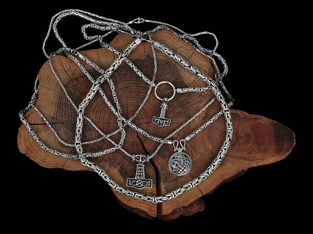 Silver Viking King Chain Necklaces - Viking Jewelry
