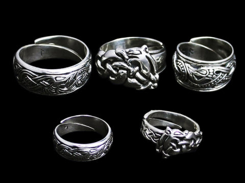 Silver Viking Dragon Rings - Viking Jewelry