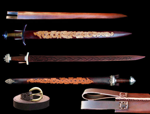 Leather Sword Scabbards, Scabbard Chapes, Mouths & Baldrics - Weapons