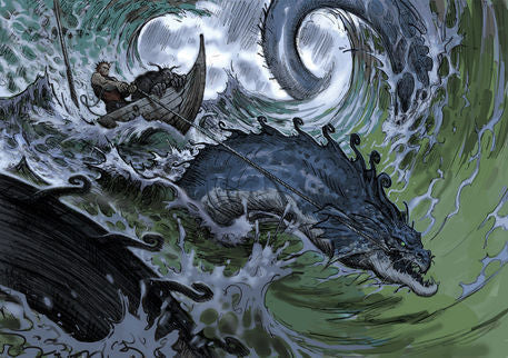 Thor and Hymir being pulled through the wild waves by Jormungand, retrieved from https://4.bp.blogspot.com/-3yvOWiYzOZc/WDsNK7mu3JI/AAAAAAAAA6U/7rdRpG3g0GULwOZDgRmBstPydfT7ZkpOwCEw/s1600/thor-fishing.jpg--Viking Dragon Blogs
