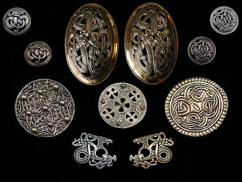 Replica Viking Brooches In Silver & Bronze - Viking Clothing / Viking Jewelry