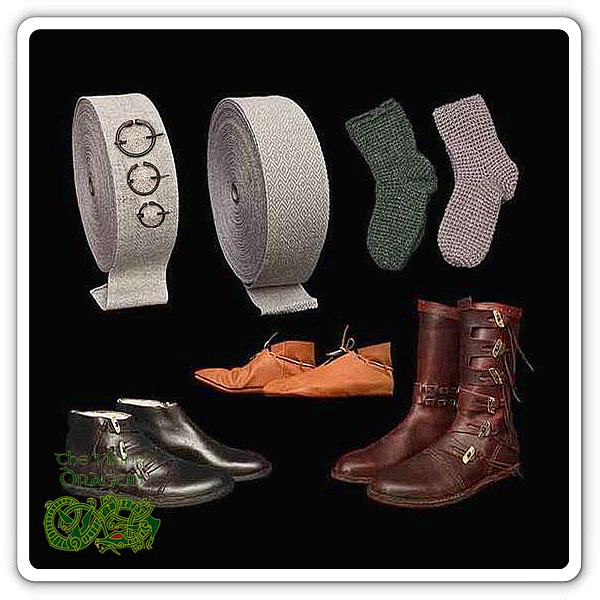 Viking Shoes Boots Leg Wraps & Socks From The Viking Dragon