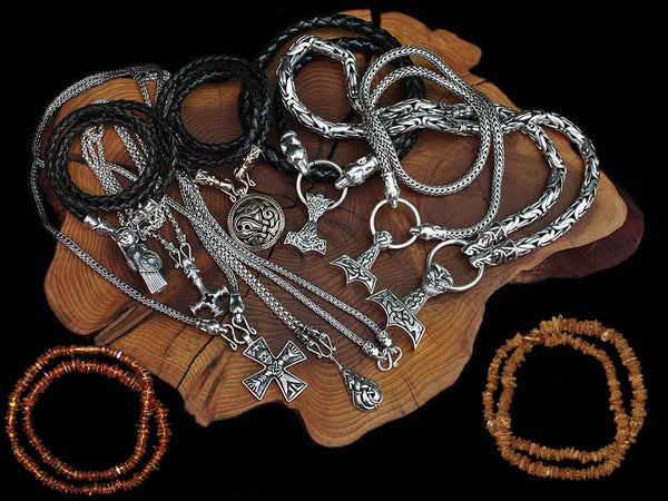 Silver, Leather & Amber Viking Necklaces - Viking Jewelry