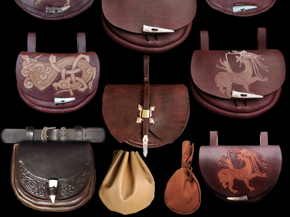 Leather Viking Pouches - Viking Clothing / Viking Costume