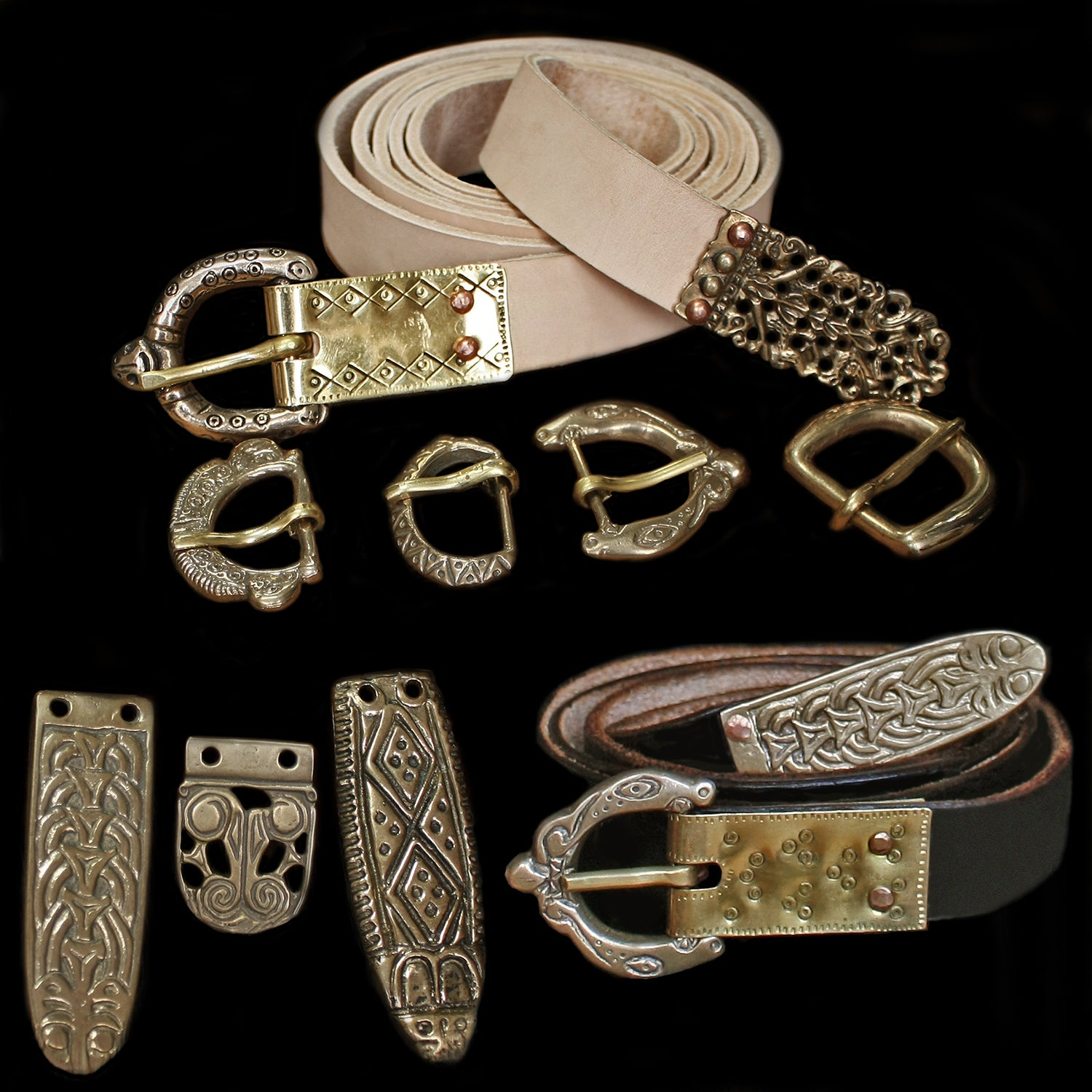 Fully Customisable Handmade Leather Viking Belts with Bronze Replica Fittings - Viking Clothing