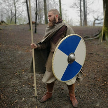 Load image into Gallery viewer, Customer with Blue and Egg Shell Viking Shield - Viking Warrior Costume