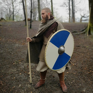 Customer with Blue and Egg Shell Viking Shield - Viking Warrior Costume