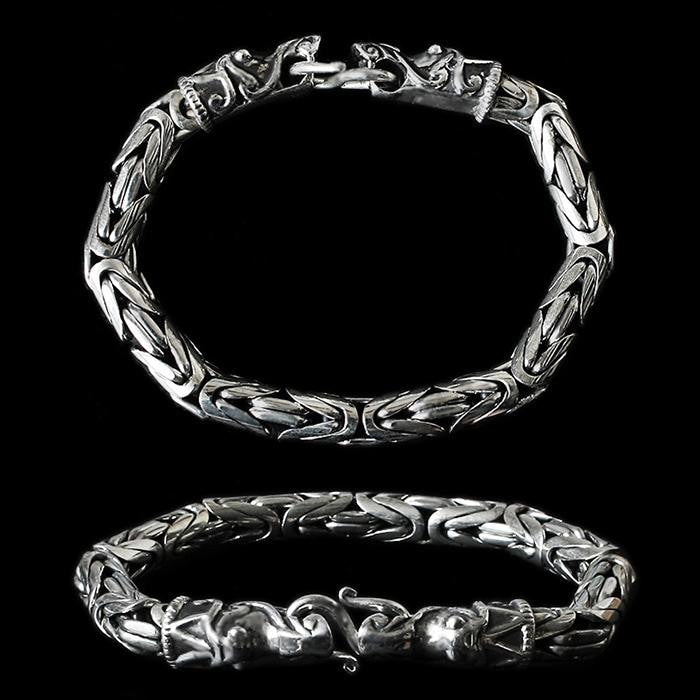 8Mm Silver King Bracelet With Gotlandic Dragon Heads - Viking Bracelets