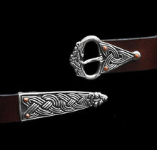 Load image into Gallery viewer, Borre Wolf Head Viking Belt Fittings on brown belt - Viking Clothing