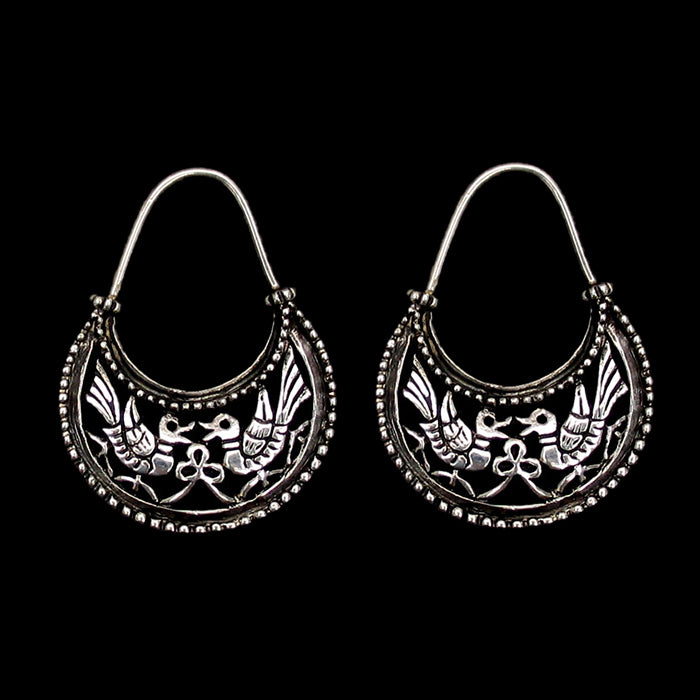 Silver Byzantine Dove Earrings