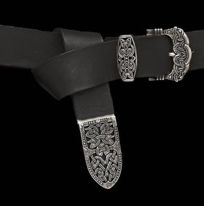 High Status Viking Belt With Silver Gokstad Fittings - Black Strap - Belts & Fittings