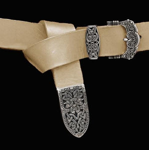 High Status Viking Belt With Silver Fittings - Natural Veg Tan / Gokstad - Belts & Fittings