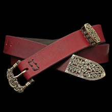 Load image into Gallery viewer, High Status Viking Belt With Bronze Fittings - Red / Gokstad - Belts & Fittings