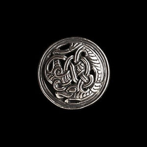Gripping Beast Disc Brooch - Silver - Viking Brooches