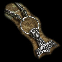 Load image into Gallery viewer, Large and Ferocious Silver Thors Hammer on Necklace
