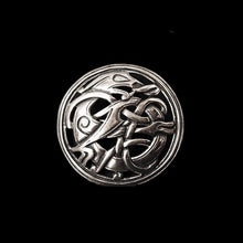 Load image into Gallery viewer, Round Urnes Dragon Brooch - Silver - Viking Brooches