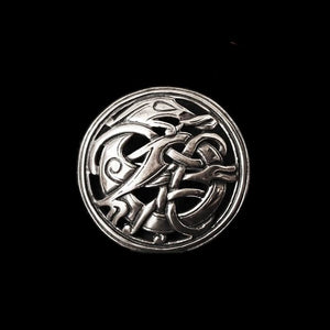 Round Urnes Dragon Brooch - Silver - Viking Brooches