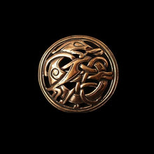 Load image into Gallery viewer, Round Urnes Dragon Brooch - Bronze - Viking Brooches