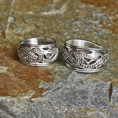 Silver Openwork Ringerike Viking Dragon Rings - Viking Rings