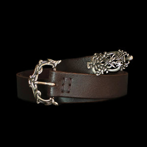 High status leather Viking belt with bronze Ringerike fittings - Viking Belts - Viking Clothing
