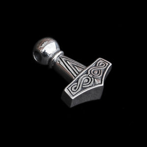 Silver Runic Thor's Hammer - Angled View - Viking Jewelry