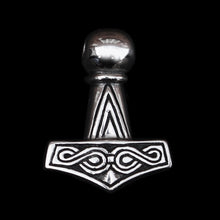 Load image into Gallery viewer, Silver Runic Thor's Hammer front - Viking Jewelry