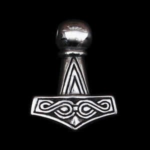 Silver Runic Thor's Hammer front - Viking Jewelry
