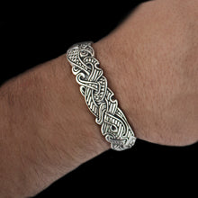 Load image into Gallery viewer, Wearing our Silver Viking Raven Arm Ring - Viking Jewelry
