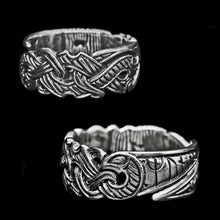 Load image into Gallery viewer, Silver Viking Raven Ring - Hugin & Munin
