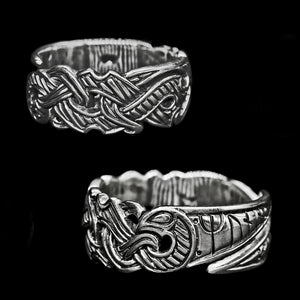 Silver Viking Raven Ring - Hugin & Munin