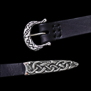 High Status Viking Belt with Urnes Style Silver Fittings and Black Strap - Belts & Fittings