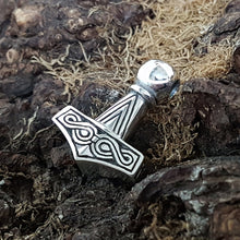 Load image into Gallery viewer, Silver Runic Thor's Hammer on Background - Viking Jewelry