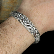 Load image into Gallery viewer, Silver Urnes Dragon Bracelet on Wrist