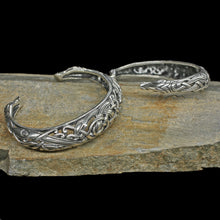 Load image into Gallery viewer, Silver Urnes Dragon Bracelets on Rock
