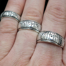 Load image into Gallery viewer, Silver Viking Love Rune Rings on Hand