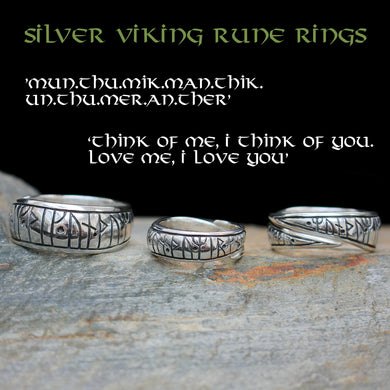 Silver Viking Love Rune Rings on Rock